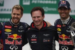 Sebastian Vettel, Christian Horner & Mark Webber en el podio
